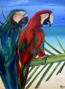 Macaw Painting Framed Prints - Parrots on the Beach Framed Print by Patti Schermerhorn
