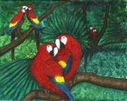 Macaw Mixed Media - Parrots Preening by Tanna Lee M Wells
