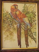 Picture Tapestries - Textiles Originals - Parrots by Veselina Simeonova