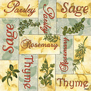 Yellow Framed Prints - Parsley Collage Framed Print by Debbie DeWitt
