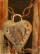 Rivets Paintings - Parthenay Padlock by Betty-Anne McDonald