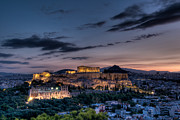 Daybreak Photo Acrylic Prints - Parthenon and Acropolis at dawn Acrylic Print by Michael Avory