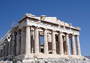 Europe Photo Framed Prints - Parthenon front Facade Framed Print by Jane Rix