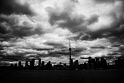 Overcast Day Posters - Partial Silhouette Of Toronto Skyline On A Cloudy Day Ontario Canada Poster by Joe Fox