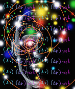 Equation Photos - Particle Tracks, Equations And Head by Mehau Kulyk