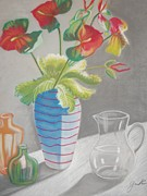 Floral Still Life Pastels Prints - Partly Cloudy Some Sun Print by Gail Cowan