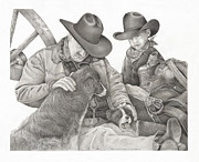 Cowboy Pencil Drawing Posters - Partners Poster by Bryan Austerberry