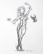 Tree Roots Drawings Prints - Partners in the Dance Print by Mark Johnson