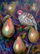 Christmas Card Painting Originals - Partridge in a pear tree by Saga Sabin