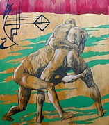 Nude Men Wrestling Art - Parts and Poems of the Body 4 by Khalid Hussein
