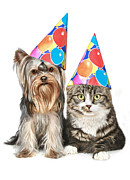 Puppy Digital Art Metal Prints - Party Animals Metal Print by Bob Nolin