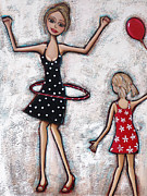 Hoop Painting Prints - Party Girls Print by Denise Daffara