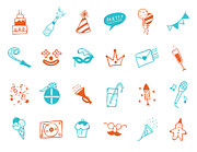 Microphone Digital Art Prints - Party Icon Set Print by Eastnine Inc.