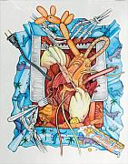 Balloons Mixed Media Originals - Party In My Heart by Vernon Farris