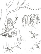 Food And Beverage Drawings Posters - Party in the Garden Poster by Vass Eva Rozsa