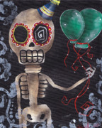 Day Of The Dead Skeleton Prints - Party Killer Print by  Abril Andrade Griffith