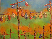 Gourds Paintings - Party Line by Diana Dice