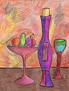 Wine Bottle Drawings Framed Prints - Party of One Framed Print by Ray Ratzlaff