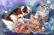 Cat Paintings - Party Pooper by Sherry Shipley