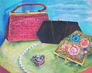 Vintage Pastels Originals - Party Purses by Laura McMillan