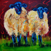 Sheep Tapestries Textiles - Party Sheep by Diane Whitehead