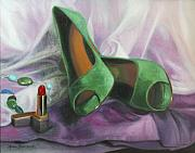 Going Green Painting Posters - Party Shoes Poster by Anna Bain