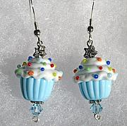 Sterling Silver Jewelry - Party Time lampwork cupcake sterling silver pierced earrings by Cheryl Brumfield Knox