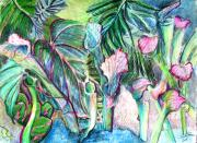 Botanical Drawings - Partying with the Pitcher by Mindy Newman
