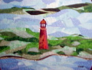 Seascape Tapestries - Textiles Framed Prints - Pas a LOutre Lighthouse Framed Print by Charlene White