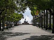 Old San Juan Framed Prints - Paseo De La Princesa in San Juan Framed Print by George Oze
