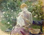 White Roses Prints - Pasie sewing in Bougivals Garden Print by Berthe Morisot
