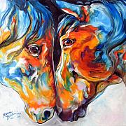 Paso Fino Prints - PASO FINO FRIENDS EQUINE ABSTRACT ART by M BALDWIN Print by Marcia Baldwin
