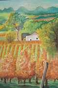 Grape Vineyard Drawings Prints - Paso Robles in the Fall Print by Terry Godinez