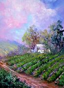 Grapes Painting Posters - Paso Vineyard Poster by Sally Seago