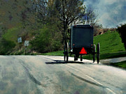 Amish Buggy Photos - Pass With Care by Kathy Jennings