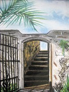 Stairway To Heaven Pastels Prints - Passage Print by Judy Via-Wolff