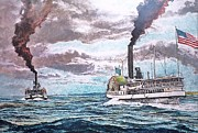 Fineart Pastels Posters - Passing In Nantucket Sound c.1895 Poster by Rex Stewart