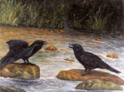 Crows Paintings - Passing on the Gift by Catfish Lawrence
