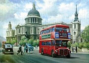 1960s Paintings - Passing St Pauls. by Mike  Jeffries