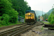Train Depot Photos - Passing Train Historic Passenger Train Depot by Thomas R Fletcher