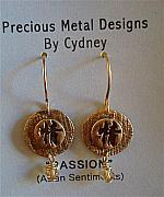 Gold Earrings Art - Passion Earrings - Asian Sentiments by Cydney Morel-Corton