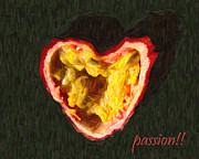 Passion Fruit Digital Art Posters - Passion Fruit With Text Poster by Wingsdomain Art and Photography