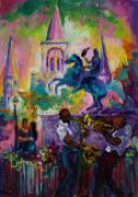 Playing Music Painting Originals - Passion in the Park Jackson Square  by Saundra Bolen Samuel