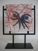 Red Glass Art Originals - Passion Rain by Mark Lubich