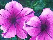 Macro Paintings - Passionate Petunias by Ally Benbrook