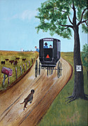 Amish Buggy Paintings - Past is Still Present by Carolyn Ardolino