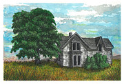 Abandoned House Drawings Prints - Past Print by Jonathan Baldock