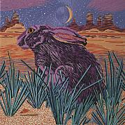 Rabbit Tapestries - Textiles Prints - Past Present Future Print by Barbara Lugge