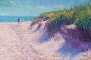 Green Grass Pastels Posters - Past the Dunes Poster by Michael Camp