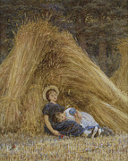 Harvest Art Framed Prints - Past Work Framed Print by Helen Allingham